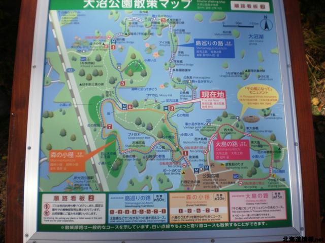 大沼公園の散策コース地図